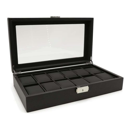 carbon-fibre-patterned-12-slot-watch-box-2