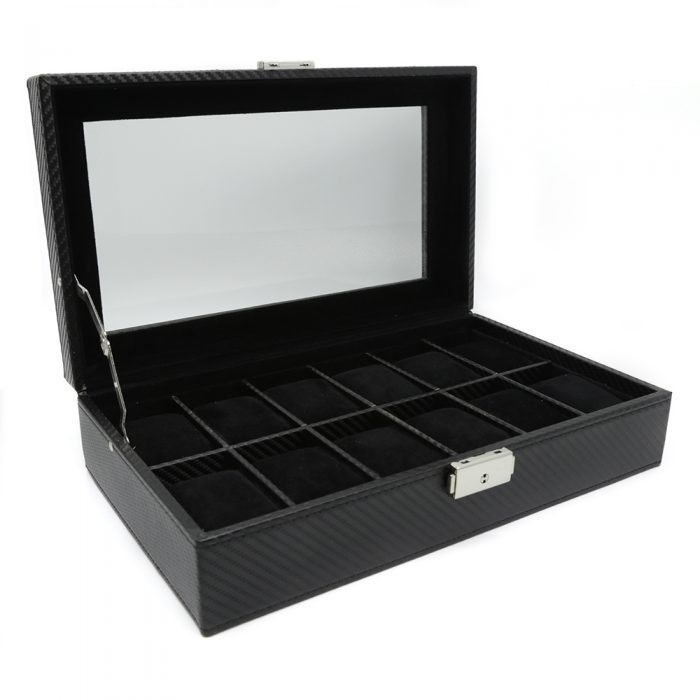black-carbon-fibre-10-slot-watch-box-2